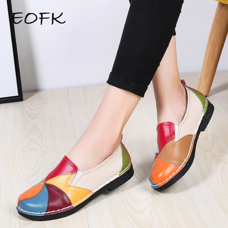 EOFK Women Flats Shoes Slip-on Shoes Woman Loafers Soft Casual Flats Shoes New Flat Colorful Patchwork Genuine Leather Summer
