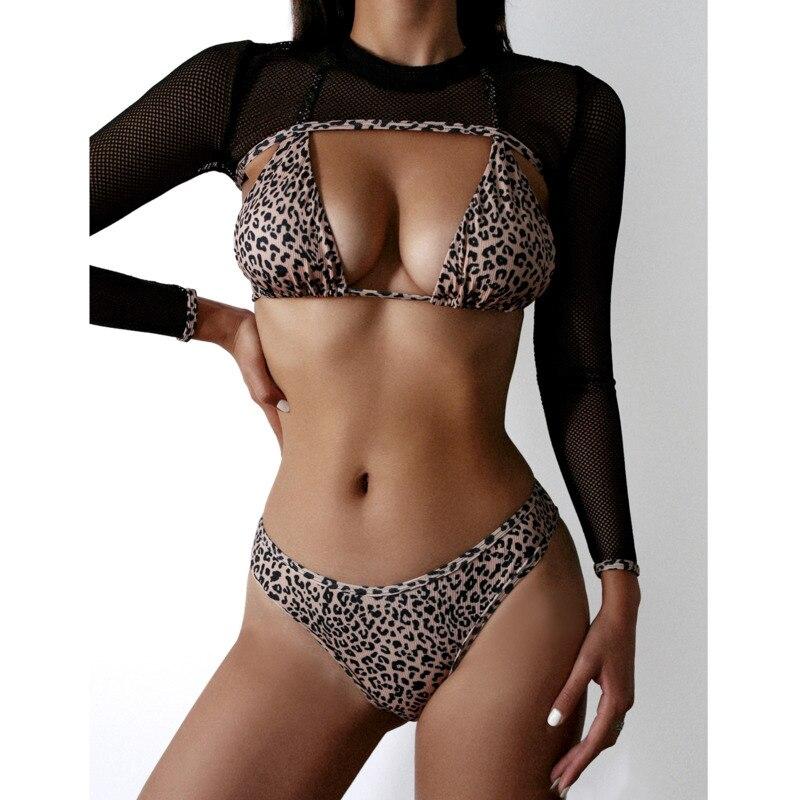 Verano leopardo Sexy manga larga tres Bikinis Set mujeres traje de baño Push Up traje de baño femenino playa brasileño Bikini
