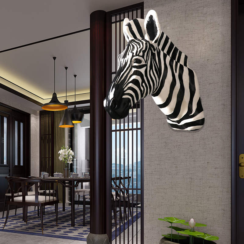 Home Statue Decoration Accessories Vintage Simulation Zebra Head Sculpture Living Room Background Wall Decor Resin Animal Statue