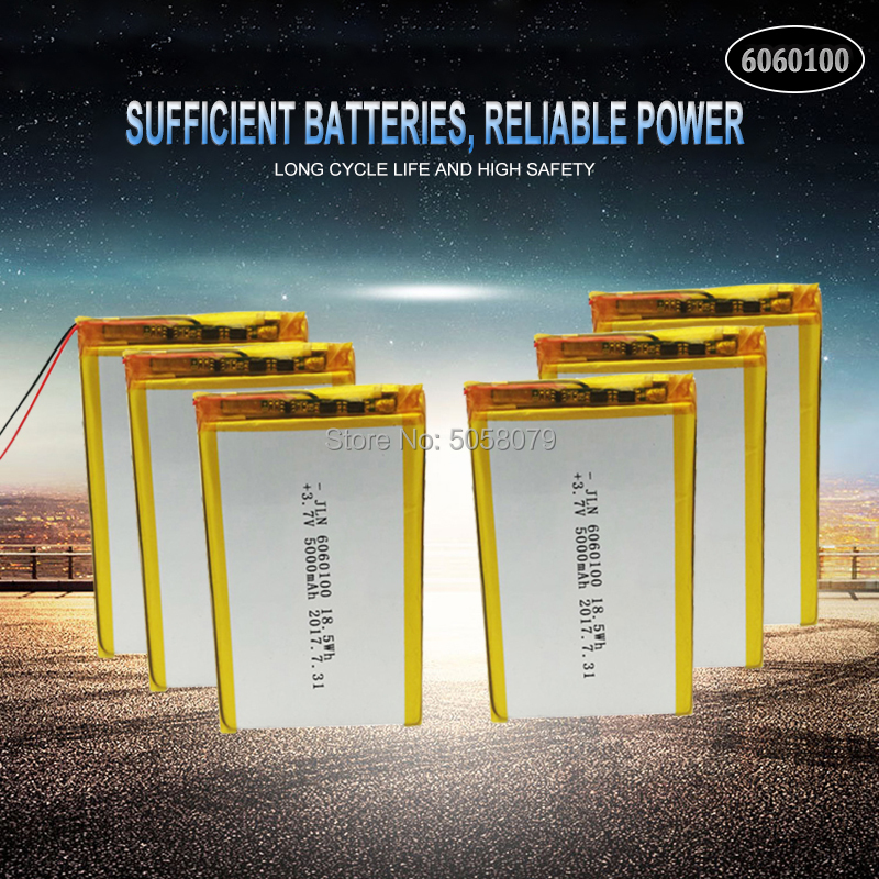 10pcs Li Po Li-ion <font><b>Batteries</b></font> Lithium Polymer <font><b>Battery</b></font> <font><b>3</b></font> <font><b>7</b></font> <font><b>V</b></font> Lipo Li Ion Rechargeable Lithium-ion 6060100 5000mAh Bateria Replace image