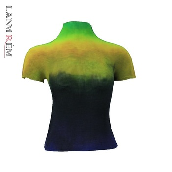 LANMREM 2021 Summer New All-match T-shirt For Famale High Quality Thin Style Elastic Fabric Short Sleeve Tops Women Causal YJ780