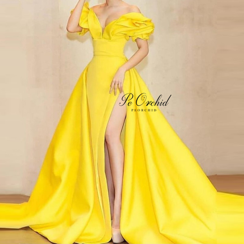 PEORCHID 2020 Yellow Satin Split Prom Dress For Black Girls Off The Shoulder Sexy Vestidos Graduacion Runaway Dress Party Gown