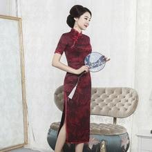 Nueva gran oferta bordada primavera/verano 2020 seda Cheongsam gasa regada grande flor tenedor modificado largo vestido Collar de moda