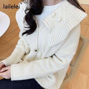 Image 5 - Sweet Cropped Cardigan Lazy Oaf Winter Sweater Women Korean Cute Kawaii Knitted White Autumn 2019 Jersey Mujer Casual Blue Kazak