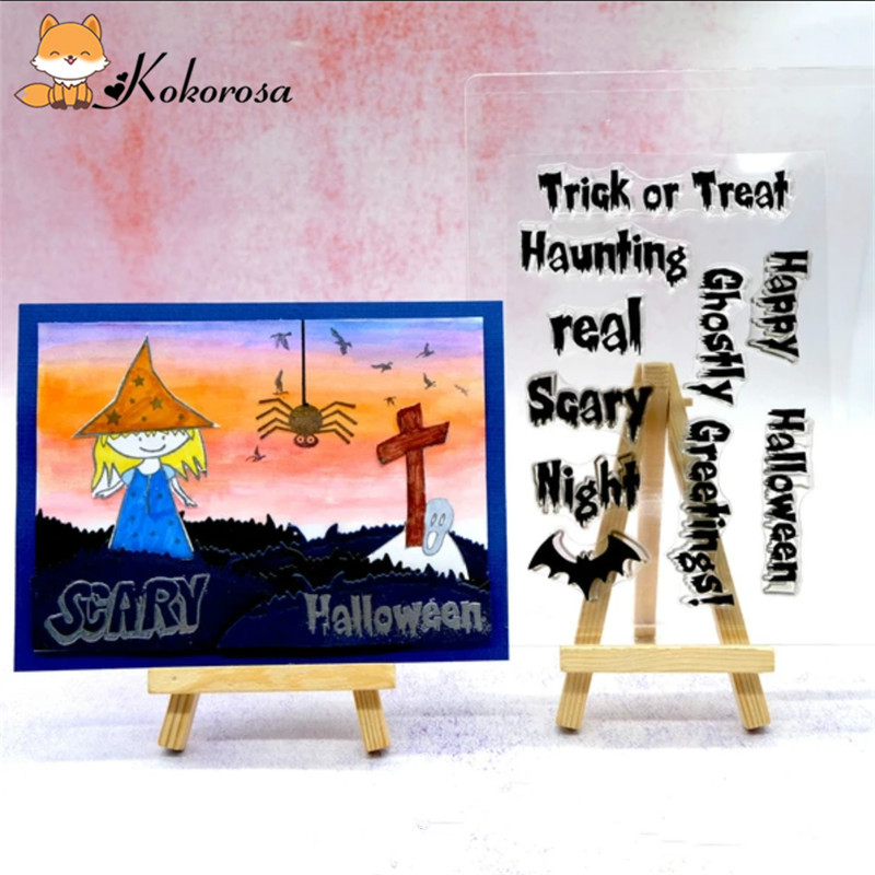Kokorosa Clear Stamps Rubber Stamp Mushroom Tree  Animal Cactus Heart Halloween Valentine Scrapbooking Album Decor