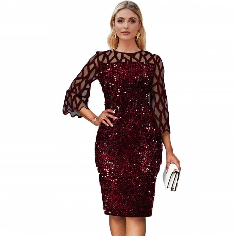 African Dresses For Women 2020 Elegent Sequined New Arrival Fashion Style African Women Summer Plus Size Knee-length Dress