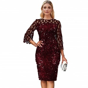 Image 1 - Robes africaines pour femmes 2020 élégant paillettes nouveauté Style de mode femmes africaines été grande taille genou robe