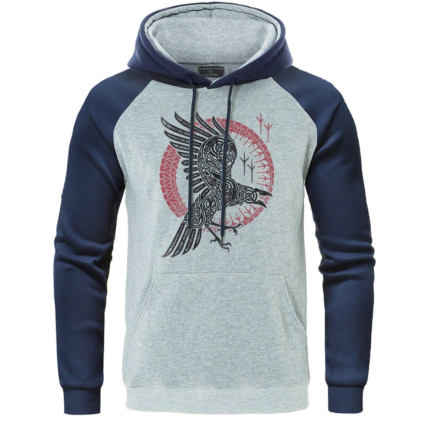Viking Legend Ragnar's Raven Mens Raglan Hooded Sweatshirt 2019 Autumn Casual Hoodie Fleece Warm Men Pullover Hip Hop Streetwear