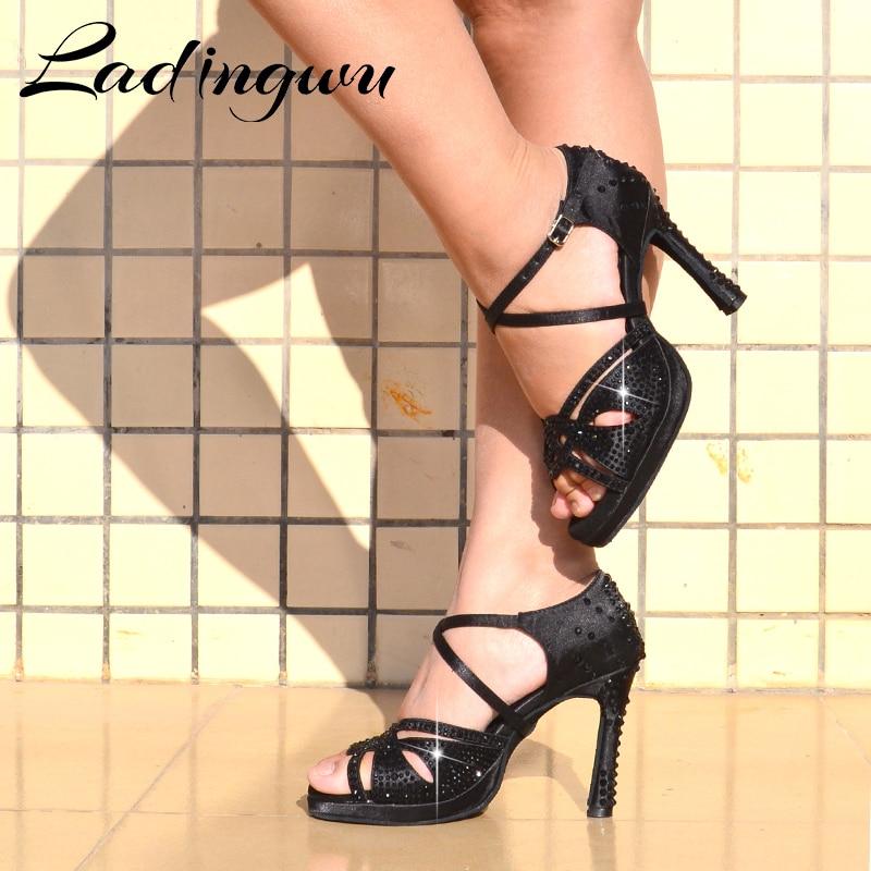 Ladingwu Latin Dance Shoes With Platform Shoes Dance Ballroom Shoes Girls Black Rhinestone 10cm Cuba Heels  Salsa Dance Shoes