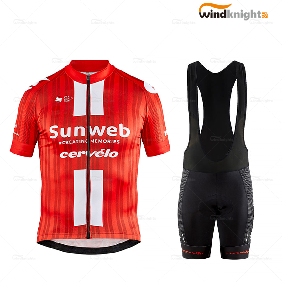 New TEAM SUNWEB Men Short Sleeve Jersey Set yersey de ciclismo 2020 Summer Road Bike Competizione Clothes red Breathable