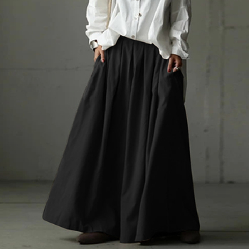 Elastic Waist Wide-Leg Trousers ZANZEA Women Summer Loose Pleated Pants Casual Plain Hose Oversized Plus Size Pantalon Palazzo 27