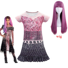 Descendants 3 Mal and Evie Girls Cosplay Dress Costume 3D Printed Kids Halloween Masquerade Sleeved Short Dresses