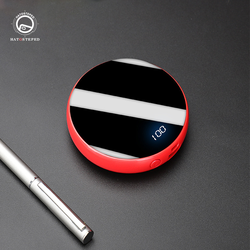 10000mAh Mini Power Bank External Battery Bank Mirror Display 2.1A Quick Charge Round Powerbank Portable Charger For Iphone