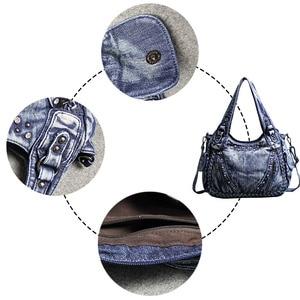 Image 3 - Kadın çantası omuz çapraz çanta büyük kapasiteli büküm rahat elmas Denim çanta