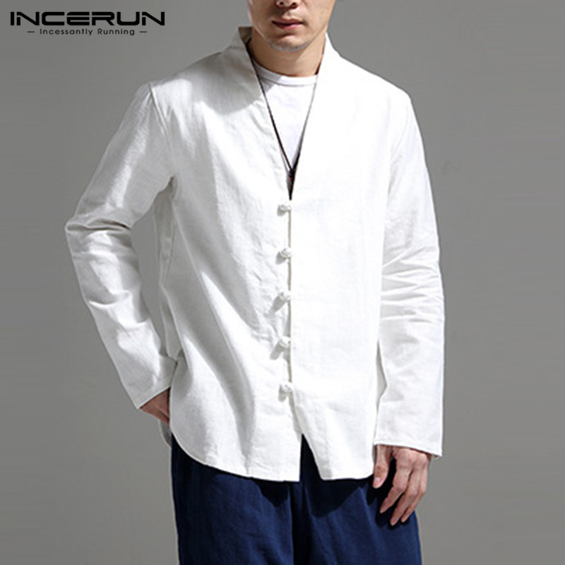 INCERUN Chinese Vintage Shirt Men V Neck Long Sleeve Streetwear Button Brand Solid Tops Cotton Linen Casual Shirts Hombre 2019