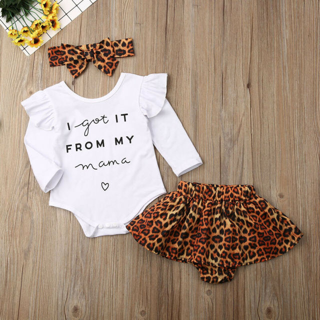Toddler Baby Girl Clothes Long Sleeve letter Romper Tops + Leopard Skirt + Headband Autumn 3PCS Outfits Set 4