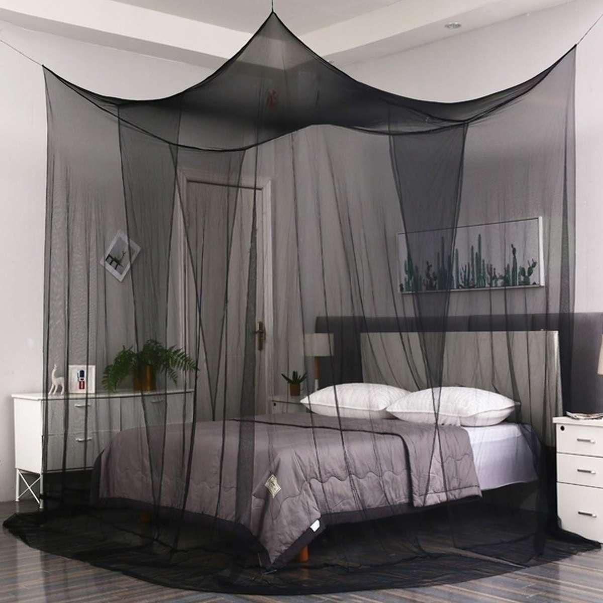 Moustiquaire Canopy White Black Four Corner Post Student Canopy Bed Mosquito Net Netting Queen King Size Mosquito Net Aliexpress