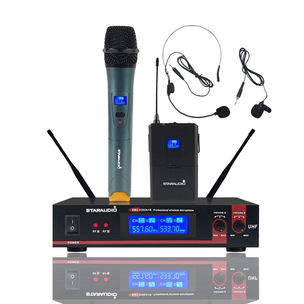2 Channel Digital UHF Wireless Microphone System Dual Bodypack Headset Vocal PA