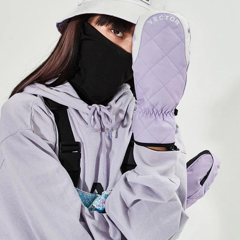 Женские лыжные перчатки, теплые варежки с подогревом, мужские водонепроницаемые перчатки с подогревом для улицы, для снега, перчатки для ез...