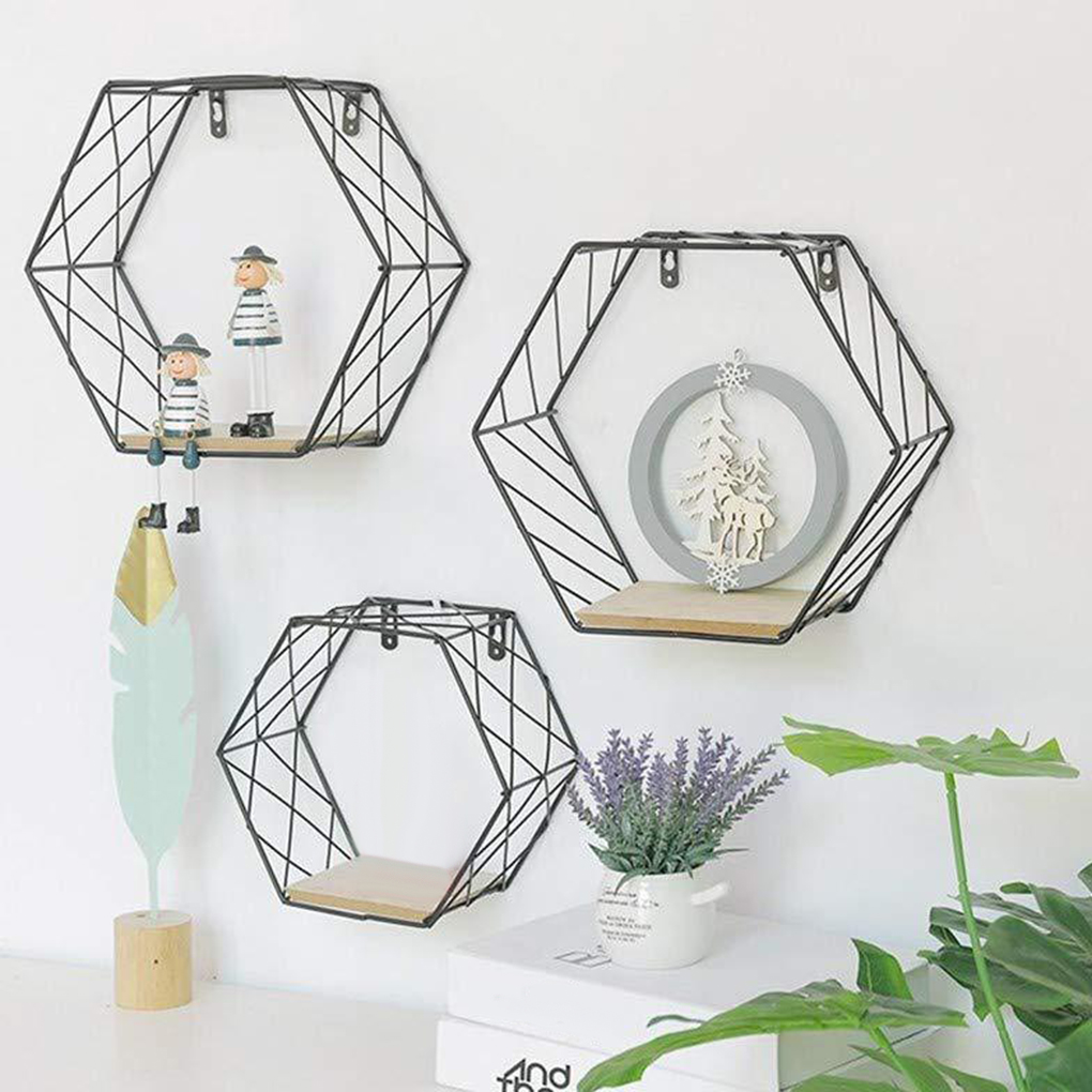 Hexagon Design Wall-Mounted Shelves Net Type Wall Storage Rack Home Office Decorative Accessories