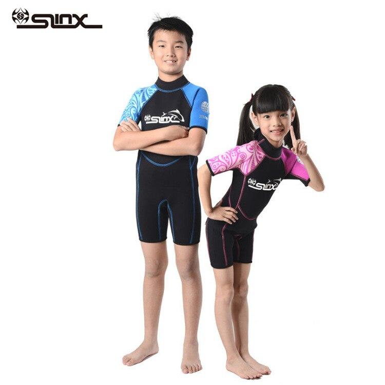 Maillot de bain siamois pour enfants résistant au soleil SLINX maillot de bain à manches courtes pour enfants 2mm