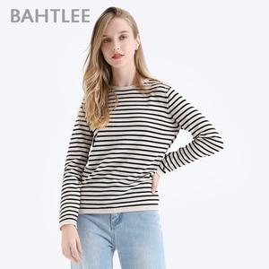 Image 2 - BAHTLEE אביב סתיו נשים סוודרי צמר שחור לבן פסים סוודר סרוג Jumper ארוך שרוולים O צוואר Loose סגנון