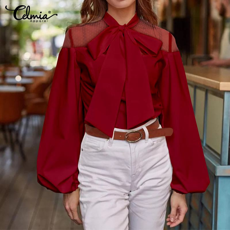 Elegant OL Women Shirts Celmia 2019 Fashion Long Lantern Sleeve Lace Blouses Bow Tie Ladies Tops Casual Loose Blusas Oversized