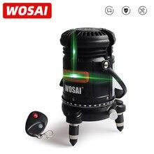 WOSAI 5 linee 6 punti livello Laser verde autolivellante orizzontale e verticale regolazione a 360 gradi telecomando ad alta visibilità