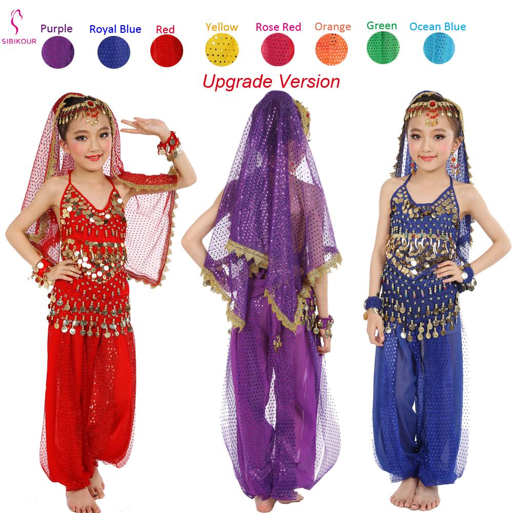 8 Colors Kids Belly Dance Costumes Set Oriental Dance Costumes Girl Egypt Egyptian Bollywood Indian Belly Dancing Clothing India