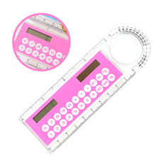 10cm Mini Ultra-thin Ruler Solar Calculator Magnifier Multifunction Calculadora Office Supplies