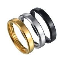 2021 klassische Abgeschrägte Glatte Männer Ringe Breite 4mm Einfache Edelstahl Finger Ringe Für Männer Schmuck Geschenk