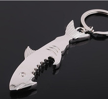 Shark Shaped Bottle Opener Keychain zinc alloy Silver Color Key Ring Beer Bottle Opener Unique Creative Gift Cute key chains