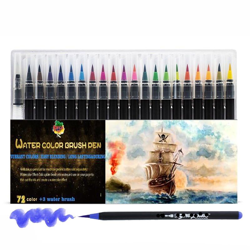 72+3 Colors Watercolor Brush Pens Set With 1 Water Brushpens Soft Flexible Tip For Painting Art Marker