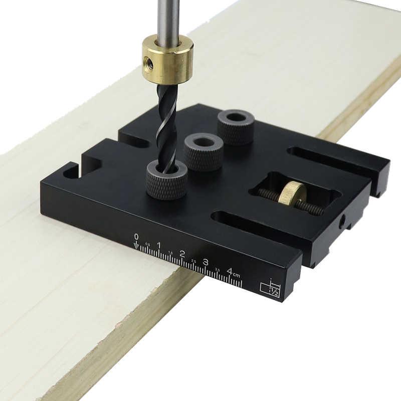 木工 Doweling ジグキットクリップで調節可能な穴パンチャーロケータ掘削ガイド家具接続大工ツール