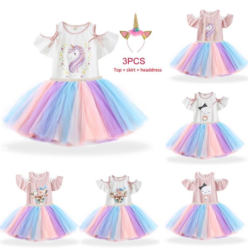 Bébé fille robe d'anniversaire robes pour 1 2 3 4 5 6 filles ans arc-en-ciel licorne enfants enfants tenue décontracté petites filles tissu d'été
