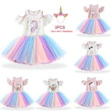 Bebê menina vestido de aniversário vestidos para 1 2 3 4 5 6 meninas anos arco-íris unicórnio crianças roupas casuais meninas verão pano