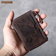 PNDME vintage crazy horse cowhide men women small coin purse fashion simple high quality genuine leather ID card holder wallet