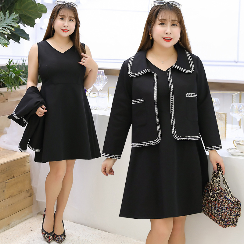 [Xuan Chen] 2019 Spring New Style Large GIRL'S Large Size Dress Elegant Graceful Two-Piece Set A Generation Of Fat A157