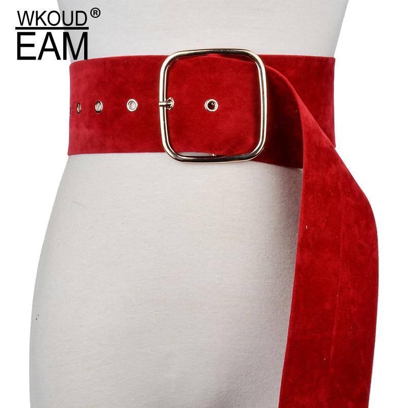 WKOUD EAM 2020 New Fashion Suede Metal Square Buckle Wide Belt For Women Casual Tide Solid Korea Style Cummerbunds Female ZJ946