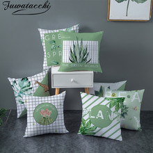 Fuwatacchi Succulent Plant Cushion Cover Green Throw Pillowcase for Sofa Car Living Room Decorative pillow cover Polyester 45x45
