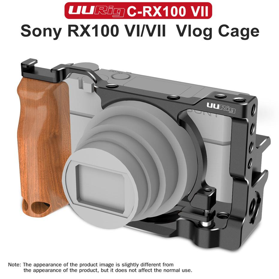 UURig C-RX100 VII Vlog Camera Cage For 7RX100 VII Case With Wood Handle Handgrip Dual Cold Shoe Mount Camera Accessories