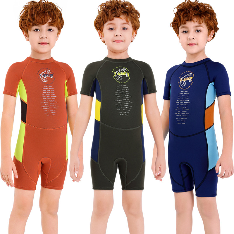 New Style Bathing Suit Children 2.5 Mm Boy One-piece Short Sleeve Bathing Suit Big Boy Thick Warm Sun-resistant Quick-Dry Swimwe