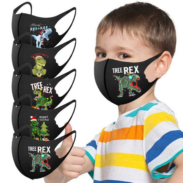 1 pçs crianças meninos meninas rosto máscara capa máscara boca preto lavável dinossauro ajustável dos desenhos animados adorável máscara capa mascarilla 1