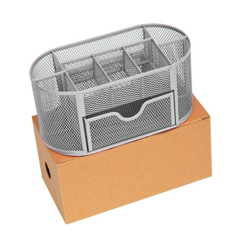 9 Grids Multi-function Metal Mesh Desk Pen Pencil Holder Organizer Container Box AXYF