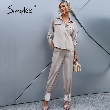Simplee Long sleeves lace up overall suits  Causal ankle banded pants suit woman Pure color streetwear spring summer sets 1