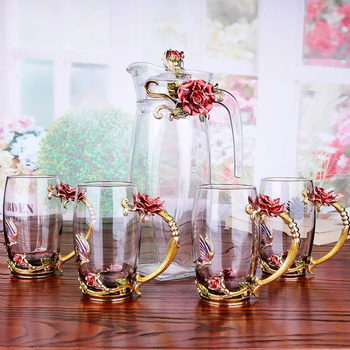 Red rose Enamel Crystal Flower Glass Teapot for Hot and Cold Drinks 1300ml Home Drinkware Office water kettle Tea set coffee pot