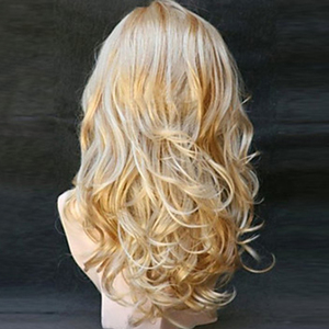 Image 5 - HAIRJOY   Long  Wavy  Synthetic Hair Wig Women  Bugundy  Light Blonde Highlights  for Costume Party