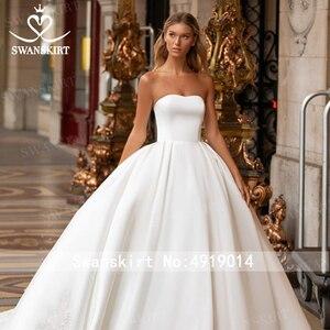Image 5 - Swanskirtでエレガントな2 1ジャケットのウェディングドレス2020アップリケサテンaライン王女カスタマイズされた花嫁衣装vestidoデ · ノビアI326