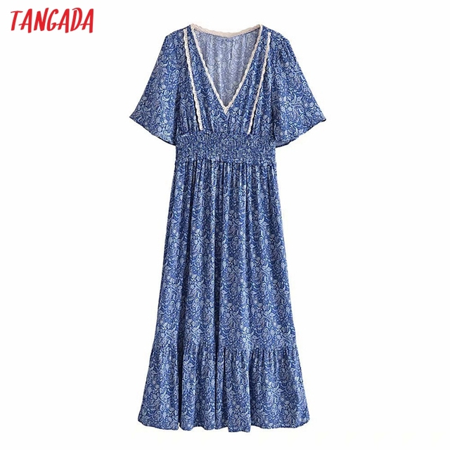 Tangada 2021 Women Print French Style Lace Patchwork Dress Flare Short Sleeve Ladies Long Dress Vestidos 3H239 1
