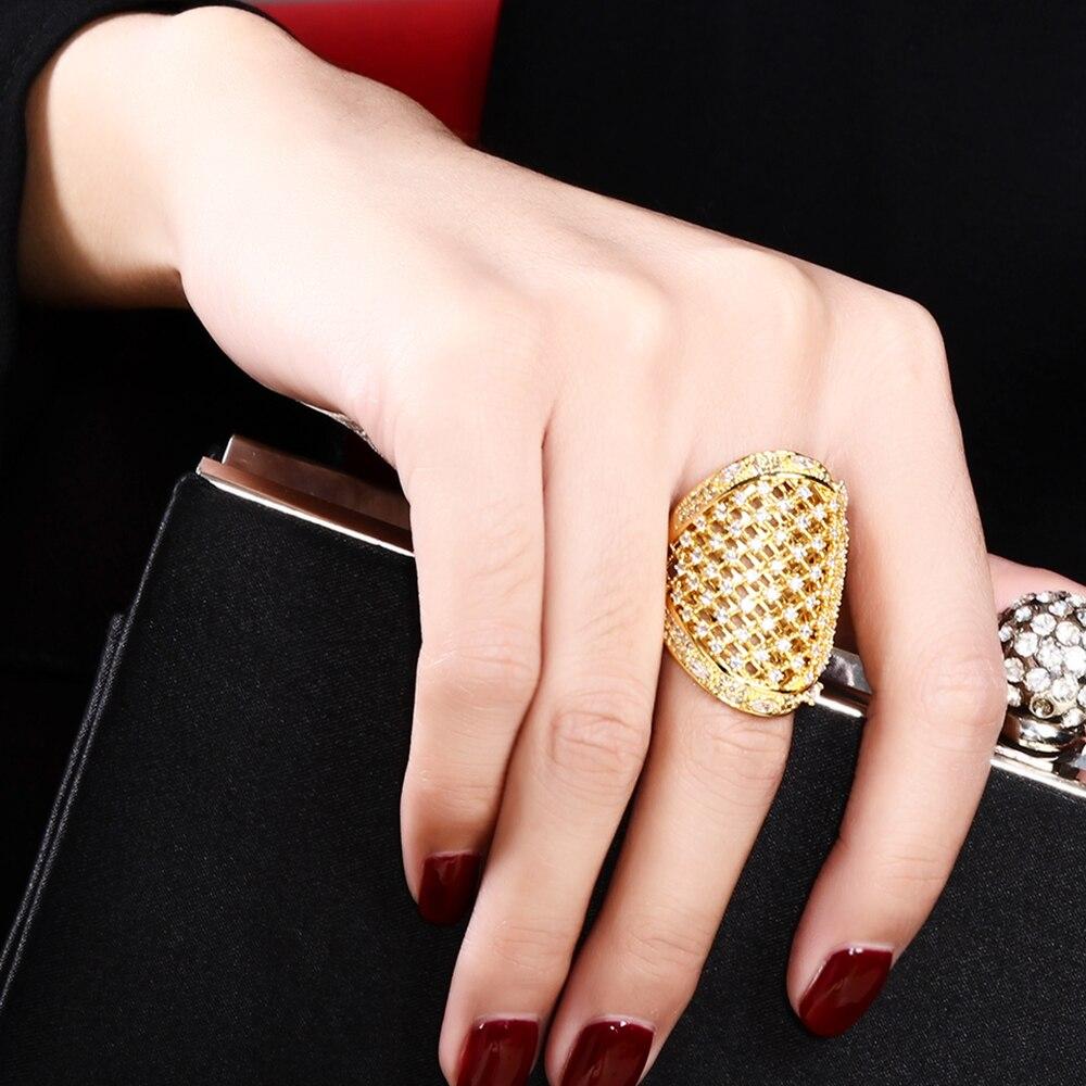 Bijuterii minunate! Inel mare minunat! Setare pentru pavarea culorilor alb și auriu cu pietre AAA Cubic Zirconia Inele mari